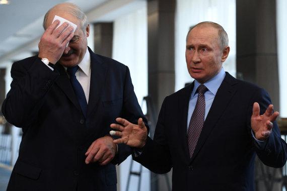 """""""Scanpix"""" nuotr./Aliaksandras Lukašenka ir Vladimiras Putinas"""