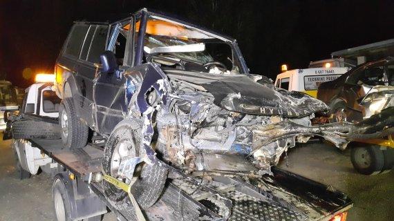 """Nojaus nuotr./ """"Hyundai Galloper"""" po avarijos"""