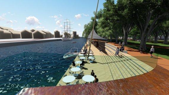 """""""Hidrostatybos projektų"""" vizualizacijos/Danės krantines nuo Biržos tilto iki Bastionų tilto ketinama rekonstruoti, kaip ir visą skverą palei upę."""