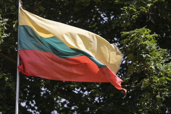 Luko Balandžio/15min.lt nuotr./Trečiadienį LFF stadione Vilniuje kabanti Lietuvos vėliava