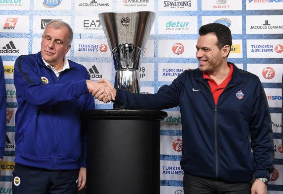 Euroleague.net nuotr./Željko Obradovičius ir Dimitris Itoudis