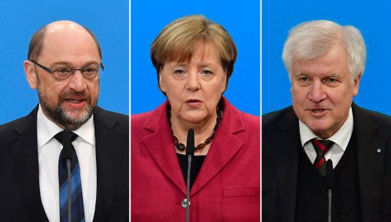 """AFP/""""Scanpix"""" nuotr./Martinas Schulzas, Angela Merkel ir Horstas Seehoferis"""