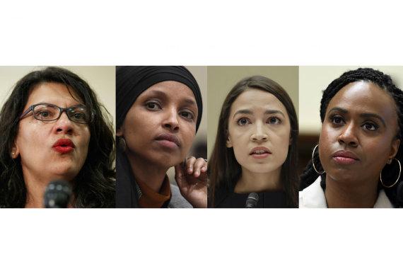 """Scanpix""/AP nuotr./Rashida Tlaib, Ilhan Omar, Alexandria Ocasio-Cortez ir Ayanna Pressley"