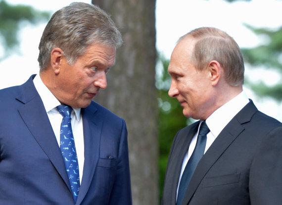 """""""Scanpix""""/AP nuotr./Sauli Niinisto ir Vladimiras Putinas"""