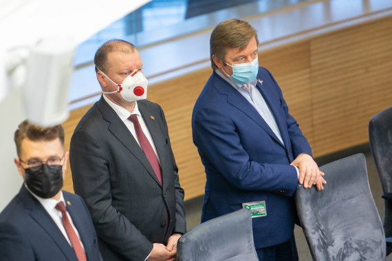 Juliaus Kalinsko / 15min nuotr./Saulius Skvernelis ir Ramūnas Karbauskis
