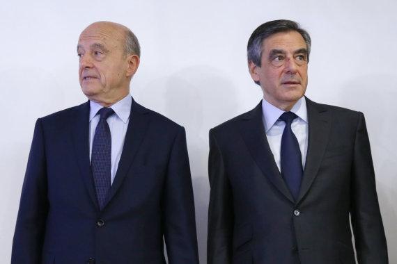 """""""Reuters""""/""""Scanpix"""" nuotr./Francois Fillonas (dešinėje) ir Alainas Juppe"""