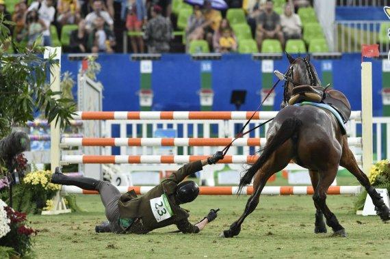 """""""Scanpix"""" nuotr./Jojimo rungtis Justinui Kinderiui baigėsi kritimu nuo žirgo"""