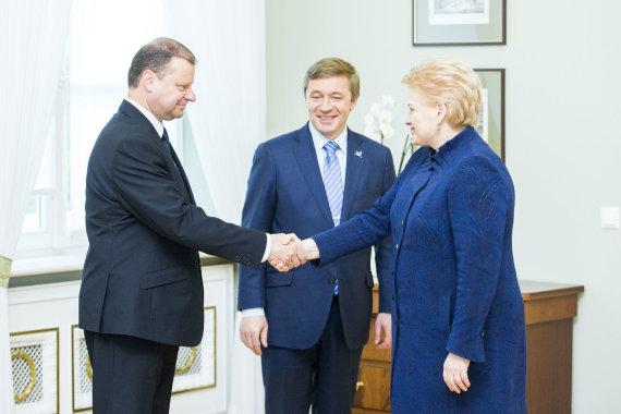 Irmanto Gelūno / 15min nuotr./Saulius Skvernelis, Ramūnas Karbauskis ir Dalia Grybauskaitė