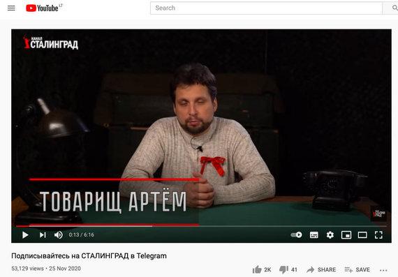 """Youtube"" socialinio tinklo ekrano nuotrauka /""Stalingrad"" laidos fragmentas"