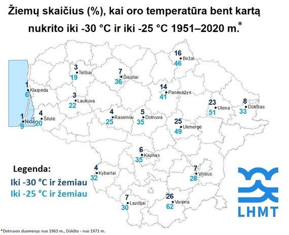 Lietuvos hidrometeorologijos tarnybos nuotr./Žiemų skaičius, kai oro temperatūra bent kartą nukrito iki -30 °C ir iki -25 °C