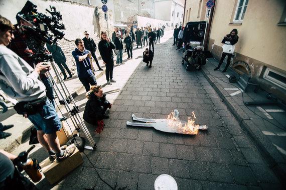 "Manto Repečkos nuotr./Klipo ""Dansingas"" filmavimo akimirkos"