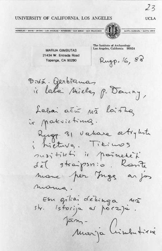 Naujasis Židinys-Aidai nuotr./Marijos Gimbutienės laiškas Vaidotui Dauniui. 1988-08-16