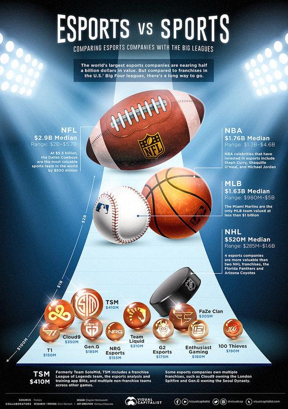 Visual Capitalist nuotr./Esporto organizacijų lyginimas su tradicinio sporto organizacijomis
