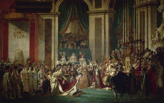 """Wikipedia.org nuotr./Jacques'o-Louis Davido paveikslo """"Imperatoriaus Napoleono įšventinimas ir imperatorienės Josephine karūnavimas Paryžiaus Dievo Motinos katedroje 1804 metų gruodžio 2-ąją"""" reprodukcija"""