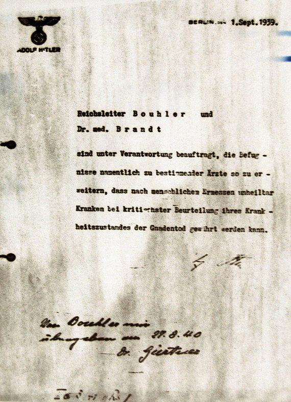 Wikipedia.org nuotr./Adolfo Hitlerio įsakymas pradėti programą T4