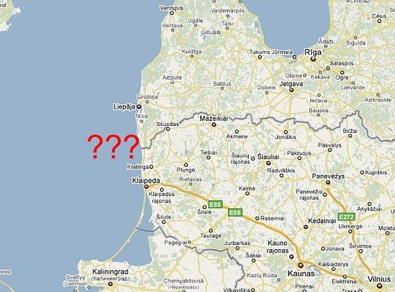 """""""Google Maps"""" žemėlapis/Lietuva ir Latvija niekaip nesusitaria dėl jūros sienos."""