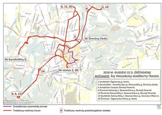 Savivaldybės nuotr./Troleibusų maršrutų trasos rugsėjo 22 d.