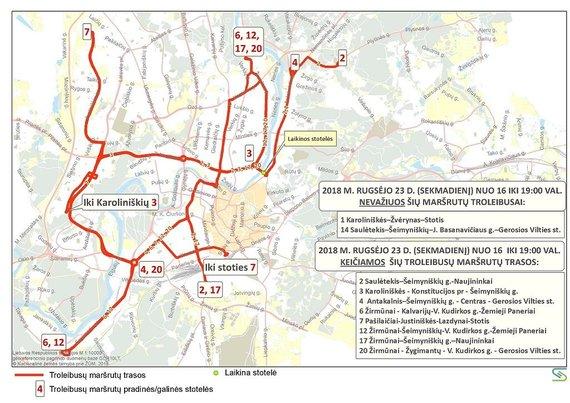 Savivaldybės nuotr./Troleibusų maršrutų trasos rugsėjo 23 d.