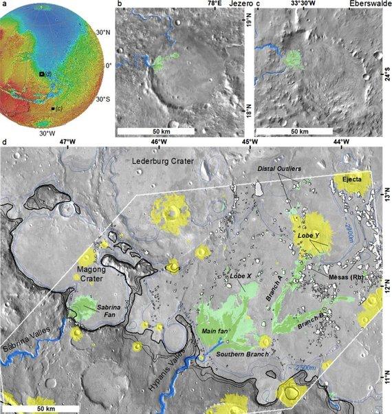 Mars Reconnaisance Orbiter iliustr./Upių vagos Hypanes slėnyje Marse