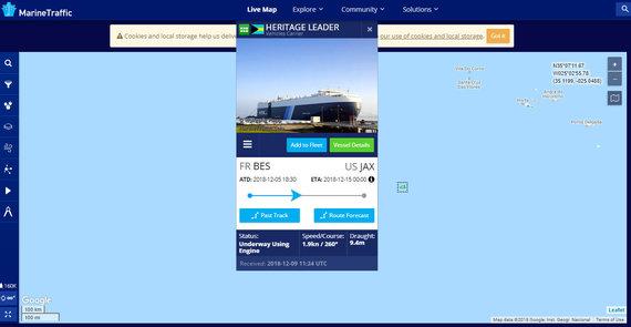 """Marine traffic nuotr./Kelto """"Heritage Leader"""" greitis"""