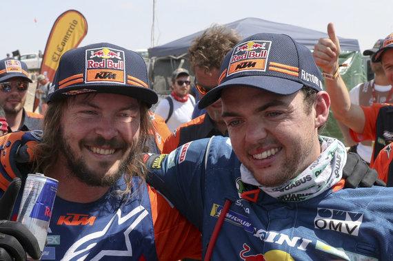 """""""Scanpix""""/AP nuotr./Mathias Walkneris ir Toby Price'as (KTM)"""