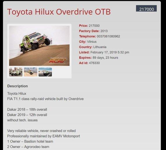 """Parduodamas """"Agrorodeo"""" komandos Dakaro automobilis"""