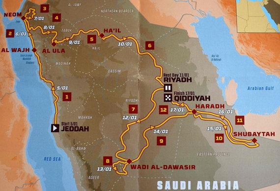 """AFP/""""Scanpix"""" nuotr./Dakaro ralio 2020 m. pristatymas: trasa, greičio ruožai"""