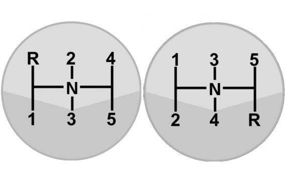 Dog-leg konfigūracijos pavarų perjungimo schema prieš tradicinę. (Syed, Wikimedia)