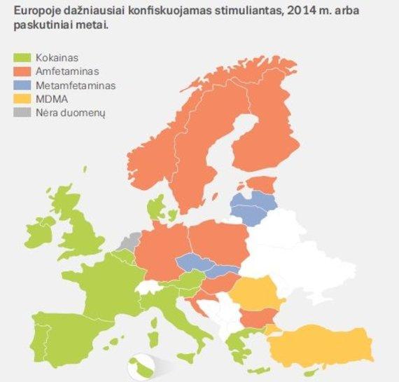 EMCDDA iliustr./Kokie narkotikai daugiausiai konfiskuojami ES