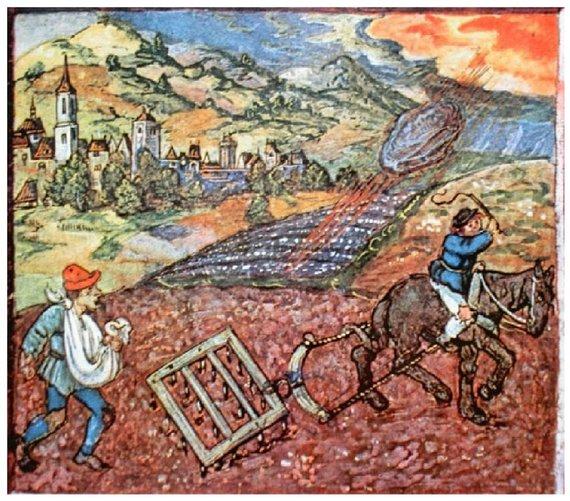 Meteoritai visais laikais ir stebino, ir glumino. 1513 m. piešinyje vaizduojamas visoje Europoje išgarsėjęs Ensisheimo meteorito kritimas. Šaltinis: www.bibliotecapleyades.net