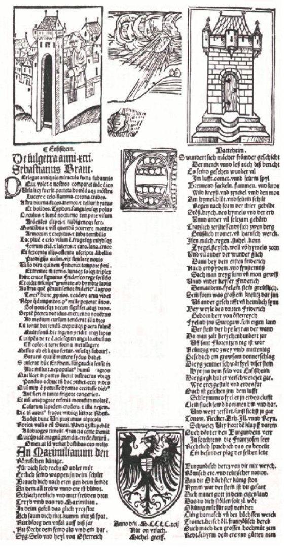 """Sebastijanas Brantas tuoj po įvykio apie Ensisheimo """"dangaus akmenį""""sukūrė poemą, kuri buvo iliustruota teminėmis graviūromis. Šaltinis: www.wikipedia.com"""