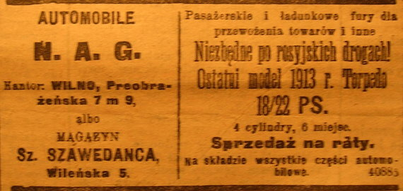 ETM archyvas/Automobilių ir motociklų reklamos Vilniaus spaudoje 1913 m.