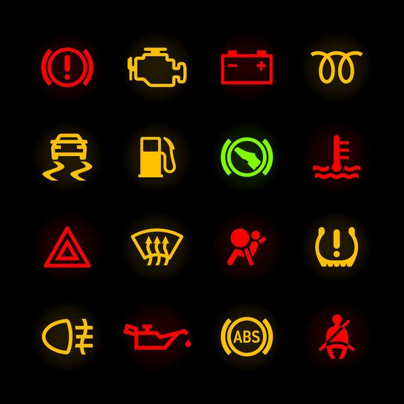 123RF nuotr./Automobilio prietaisų skydelio simboliai
