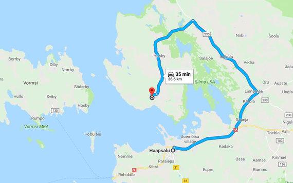 Google Maps iliustr./Sausumos kelias iš Hapsalu į Noarotsi