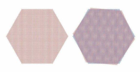 """Du grafeno sluoksniai, kurie yra pasukti """"magišku kampu"""" (dešinėje pusėje), pademonstravo superlaidininko savybes ©MIT"""