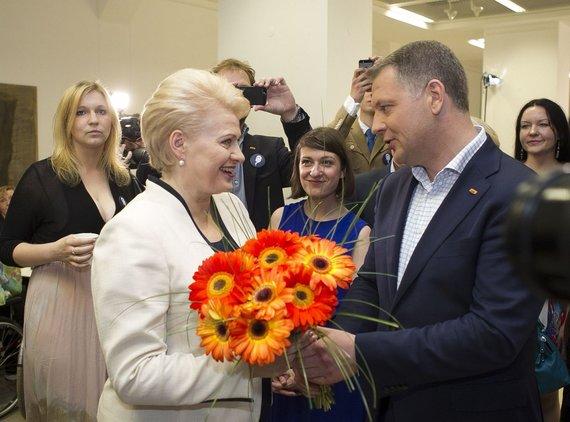 Irmanto Gelūno / 15min nuotr./Dalia Grybauskaitė ir Eligijus Masiulis