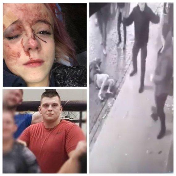 """Kadras iš filmuotos medžiagos ir nuotraukos iš """"Facebook""""/Sportininkas kaltinamas smurtu prieš merginą"""