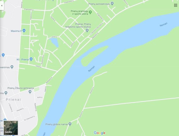 Atvaizdas iš google.com/maps/Nemuno sala Prienuose ties Kęstučio gatve