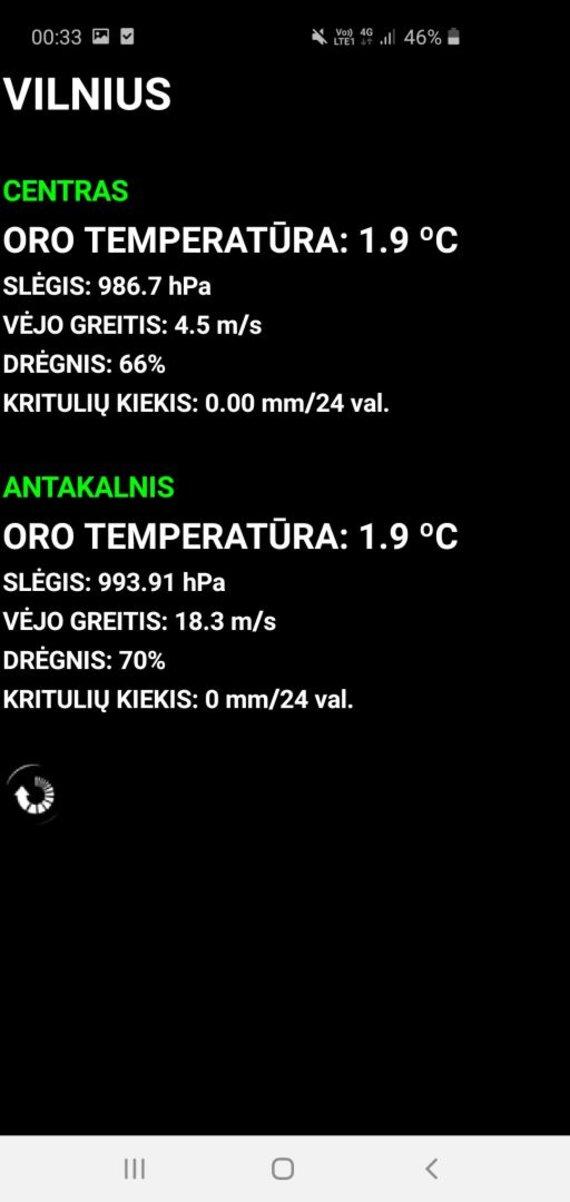 """Mobiliosios programėlės """"Vilniaus oras"""" atvaizdas/Sostinėje naktį vėjo gūsiai siekė net 18 m/s, tiesa, pačiame centre jie nebuvo taip juntami."""