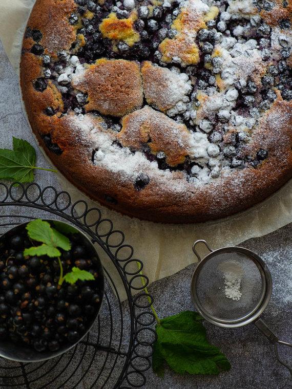 Nidos Degutienės nuotr. /Pyragas su varške ir juodaisiais serbentais