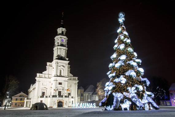 Eriko Ovčarenko / 15min nuotr./Kauno Kalėdų eglė 2019 m. Sausio 09 d.