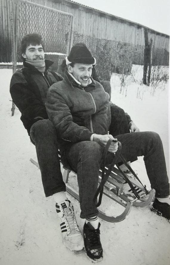 """Nuotrauka iš knygos """"Legendiniai Žalgirio vyrai""""/Arvydas Sabonis ir Rimas Kurtinaitis"""