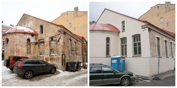 J.Kalinsko, V.Balkūno nuotr./ 15min koliažas/Tada ir dabar: Gėlių sinagoga 2015 m. ir 2020 m.