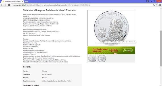 Parduodama 20 eurų moneta