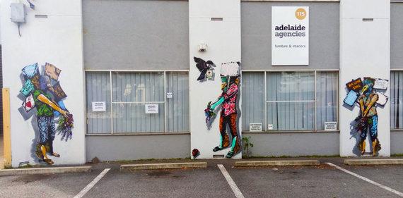 """Gatvės menininko iš Indonezijos  """"Anagard"""" nuotr./""""Protestas"""", gatvės meno kūrinys Australijoje, kurį sukūrė """"Anagard"""""""