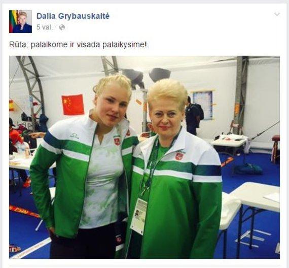 Dalios Grybauskaitės įrašas ir nuotrauka feisbuke