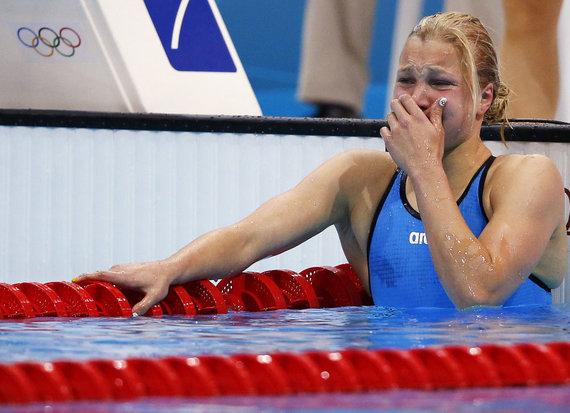 """""""Reuters""""/""""Scanpix"""" nuotr./Rūtos Meilutytės laimės ašaros."""