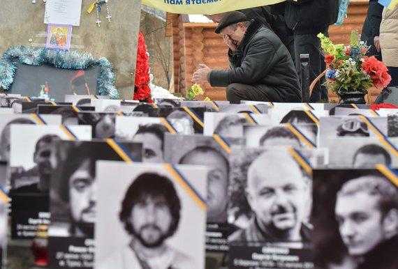 """AFP/""""Scanpix"""" nuotr./Kijeve minimos Maidano aukų žūties metinės"""