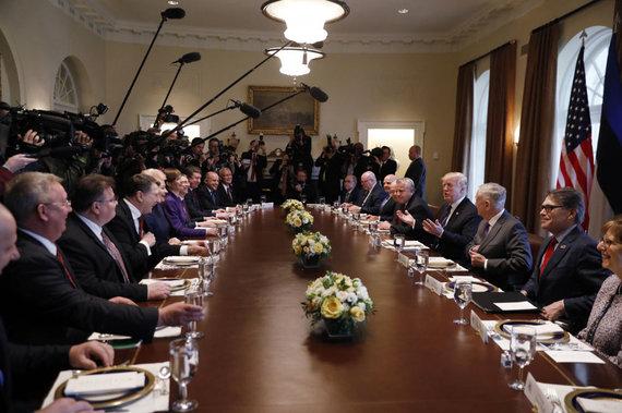 """""""Reuters""""/""""Scanpix"""" nuotr./Donaldo Trumpo ir Baltijos šalių vadovų susitikimas"""