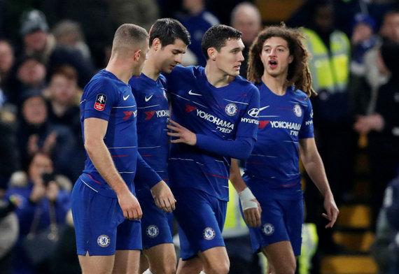"""""""Scanpix"""" nuotr./Alvaro Morata ir kiti """"Chelsea"""" žaidėjai"""